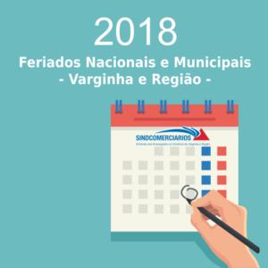 Calendário Anual 2018 – Datas Comemorativas e Feriados Municipais nas cidades base do SindComerciários