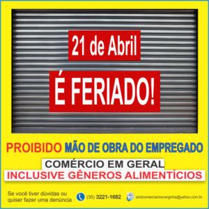 Feriado 21 de Abril – Região