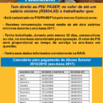Calendário Abono PIS 2018