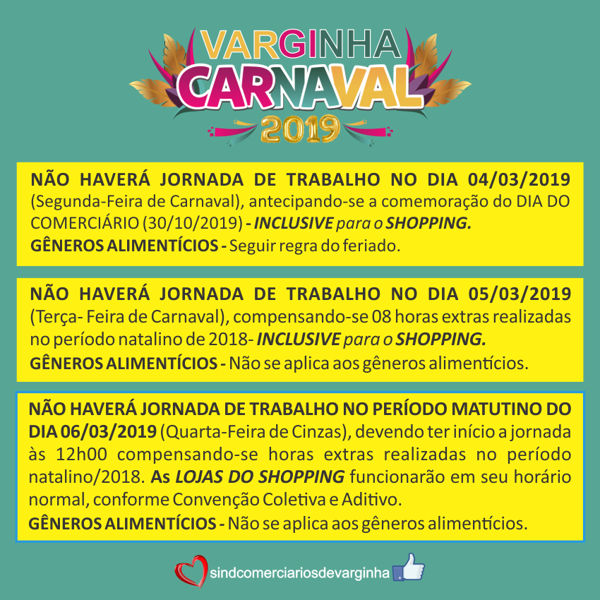 Carnaval 2019 – Funcionamento do Comércio em Varginha