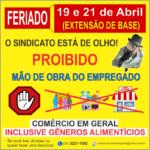 Extensão de Base – Comércio Fechado nos dias 19 e 21 de Abril