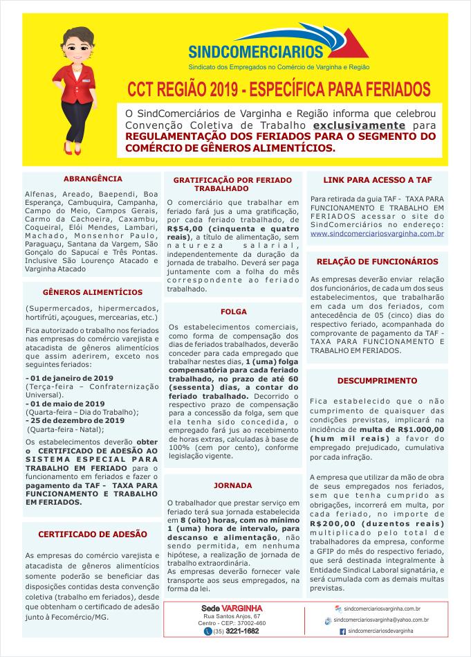 CCT Região 2019 – Específica para FERIADOS (Exclusivamente Gêneros Alimentícios)
