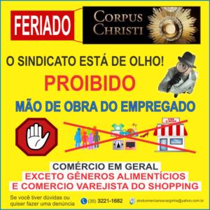 Comércio Fechado no FERIADO nacional (Corpus Christi)