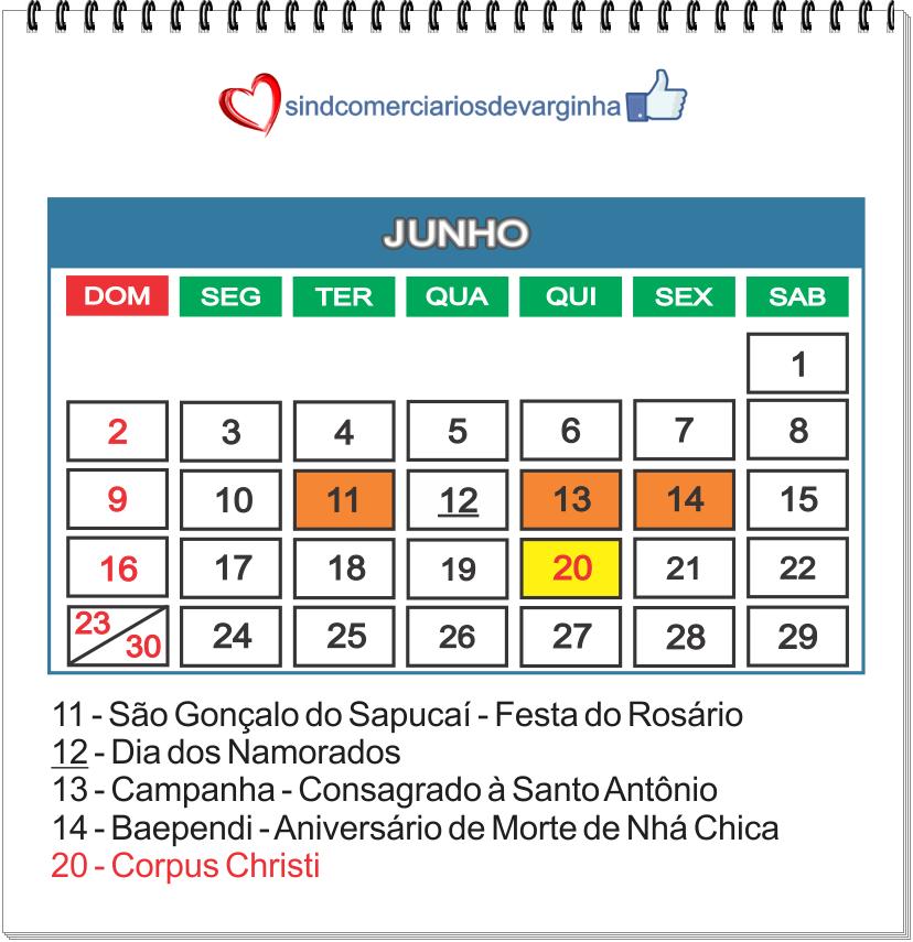 Calendário Feriados Nacionais e Municipais (cidades base do Sindcomerciários)