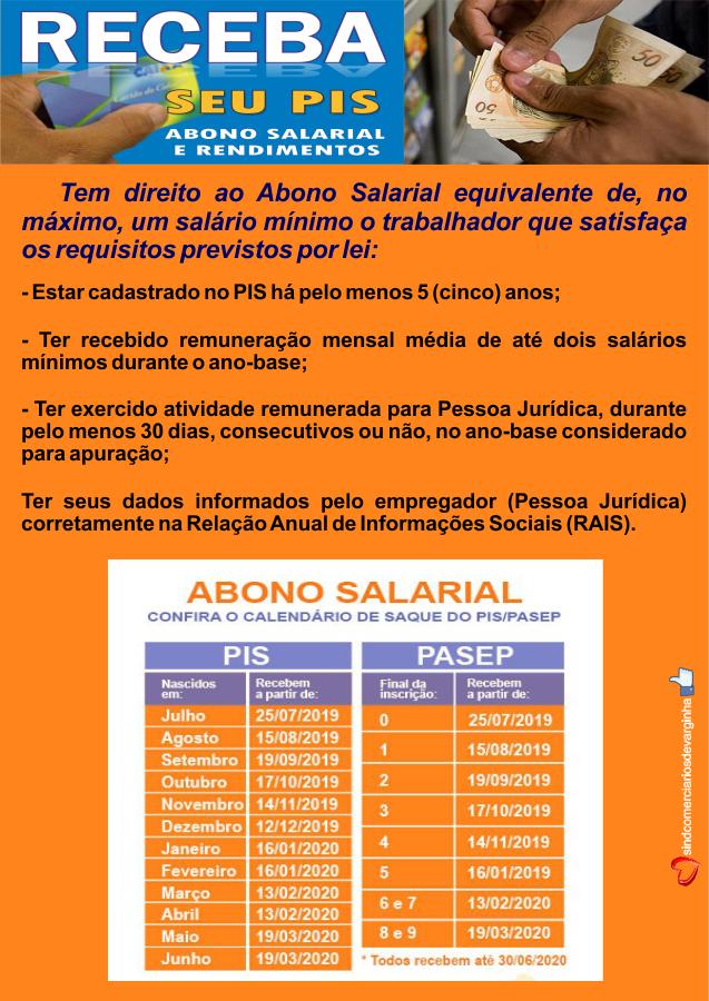 Calendário Abono PIS 2019/2020