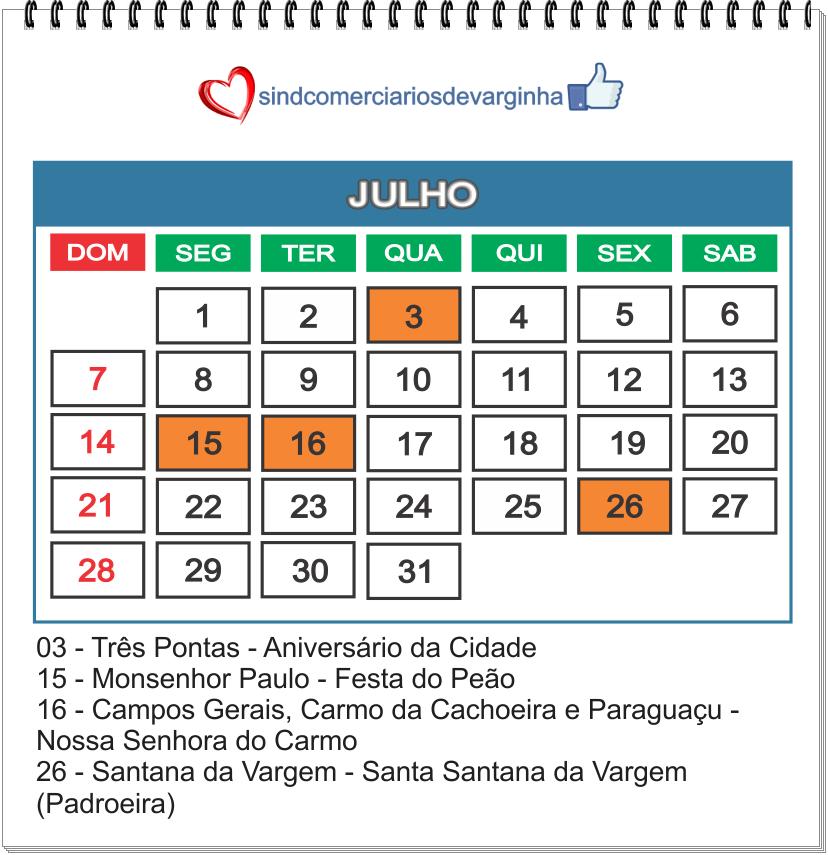 Feriados Julho 2019 – Cidades base do Sindcomerciários