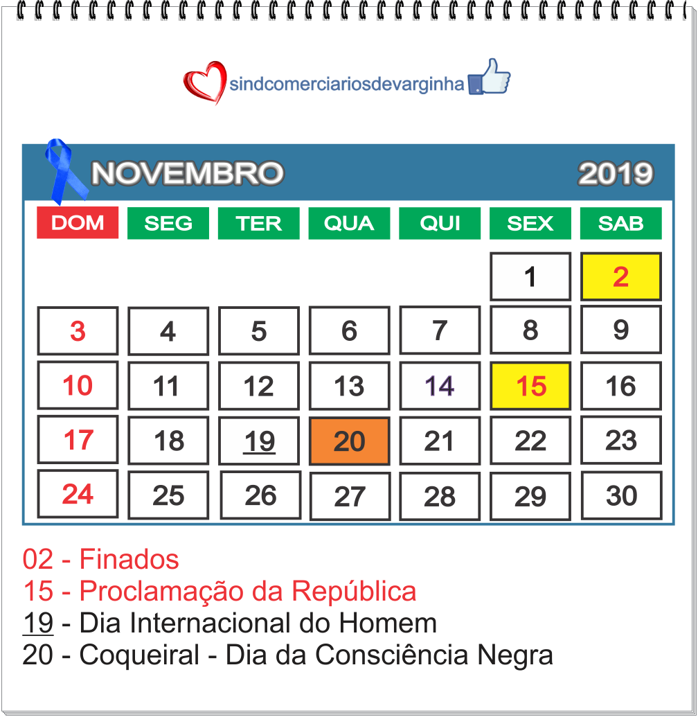Feriados Novembro 2019 – Cidades base do Sindcomerciários