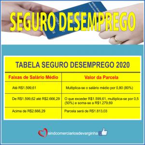 Seguro Desemprego – Tabela 2020 –