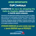 COMÉRCIO de rua e do shopping Via Café de Varginha – Fechados