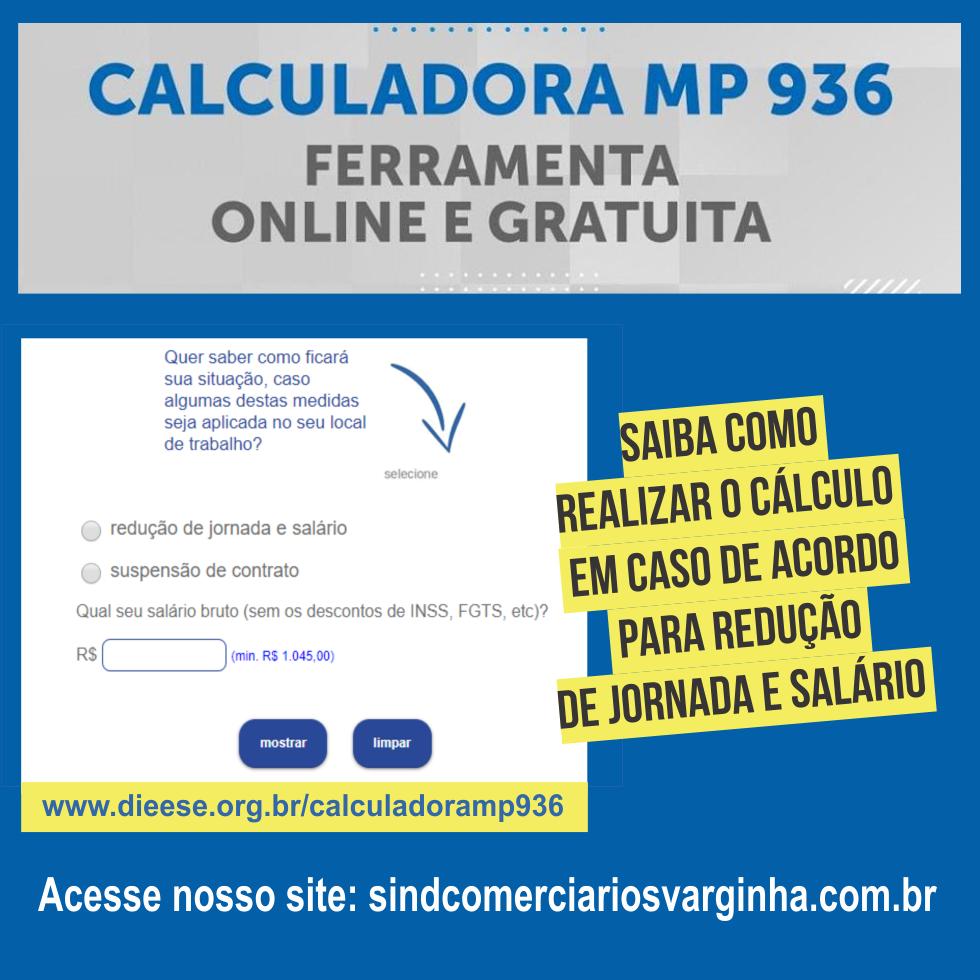 Calculadora MP 936 – Para Eventuais Acordos de Redução de Jornada e Salário