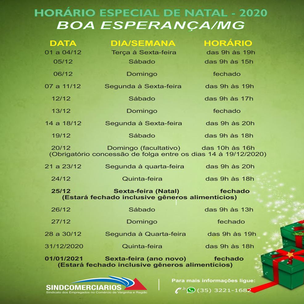 Horário Especial de Natal para o comércio de Boa Esperança.