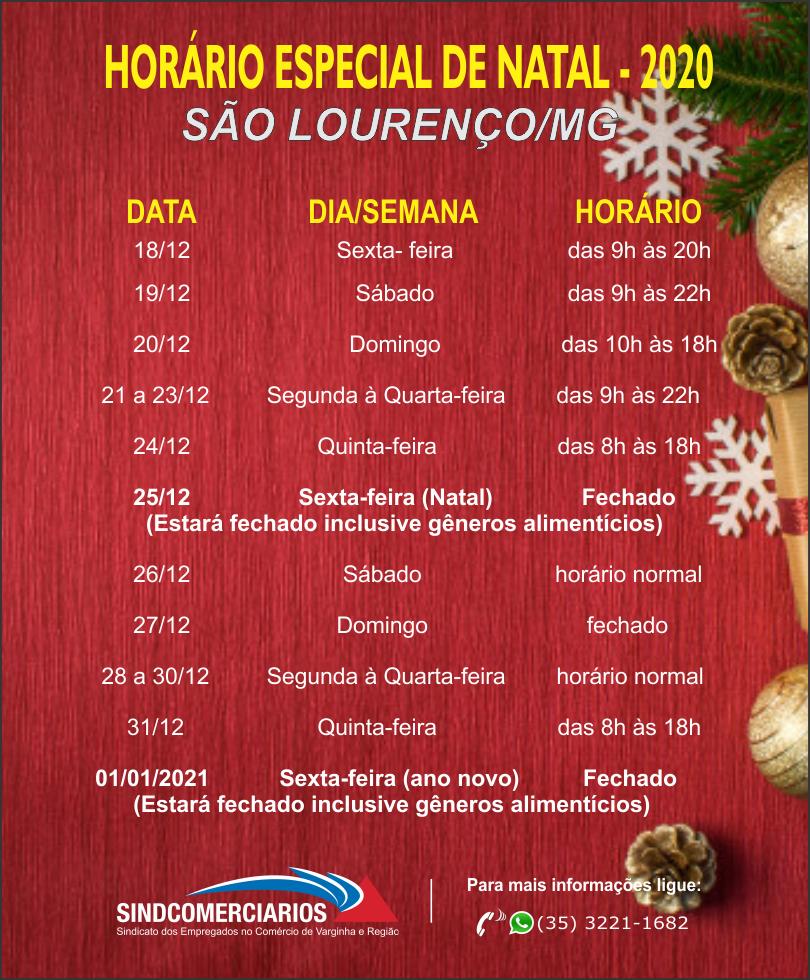 Horário Especial de Natal 2020 – São Lourenço /MG