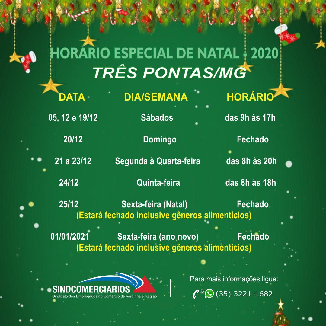Horário Especial de Natal 2020 – Três Pontas /MG