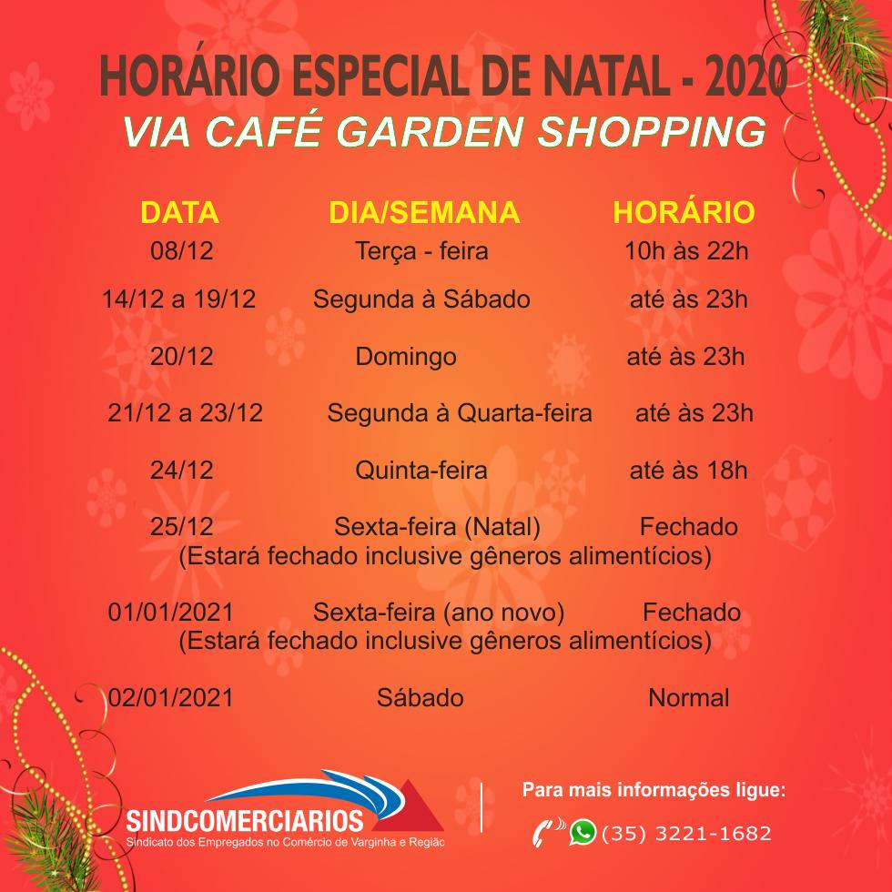 Horário Especial de Natal 2020 – Via Café Garden Shopping em Varginha