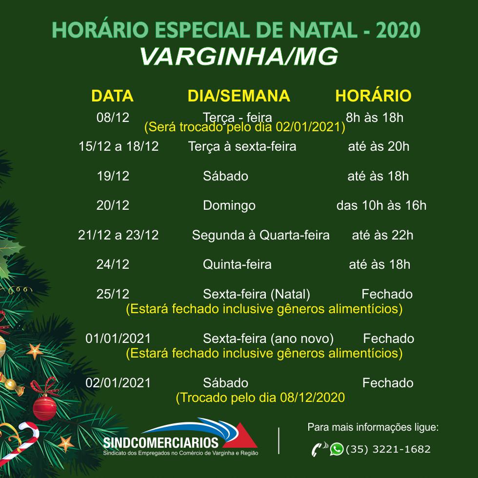Horário Especial de Natal para Varginha
