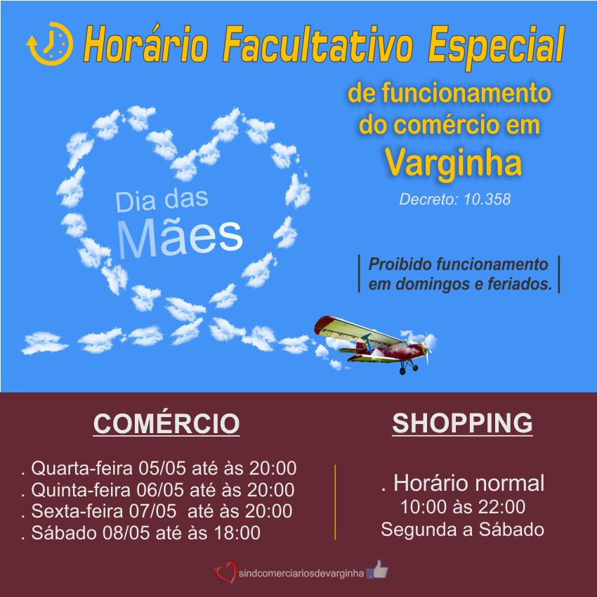 Horário Especial Facultativo de Funcionamento do Comércio – Dia das Mães