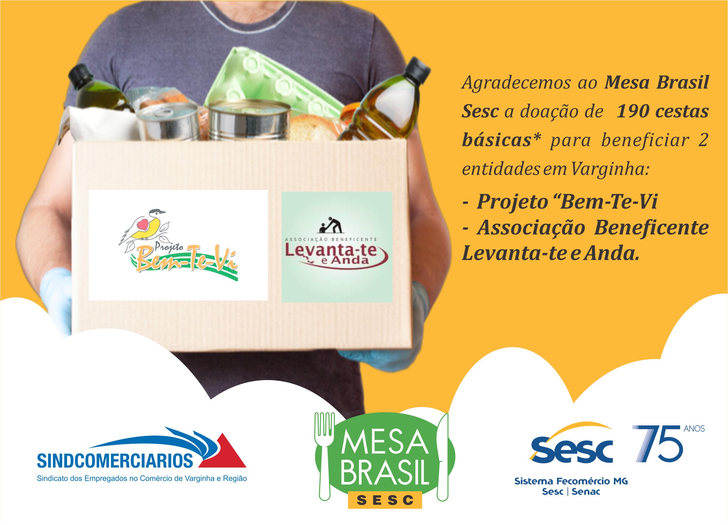 Mesa Brasil Sesc Doa Cestas Básicas em Varginha