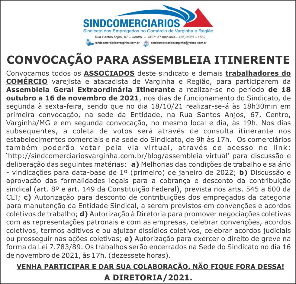 Convocação para Assembleia – Campanha Salarial 2022