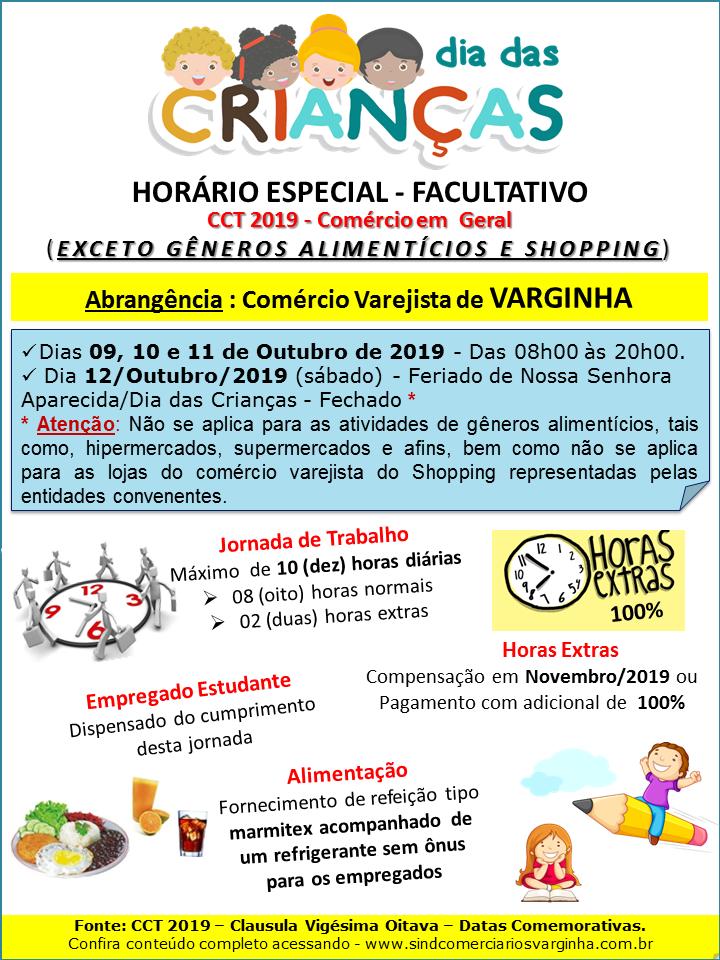 Horário Especial – Dias das Crianças 2019