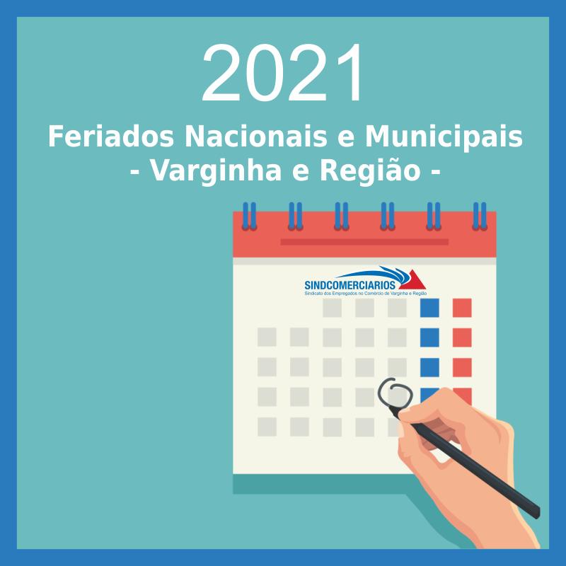 Calendário Anual 2021 – Datas Comemorativas e Feriados Municipais nas cidades base do SindComerciários