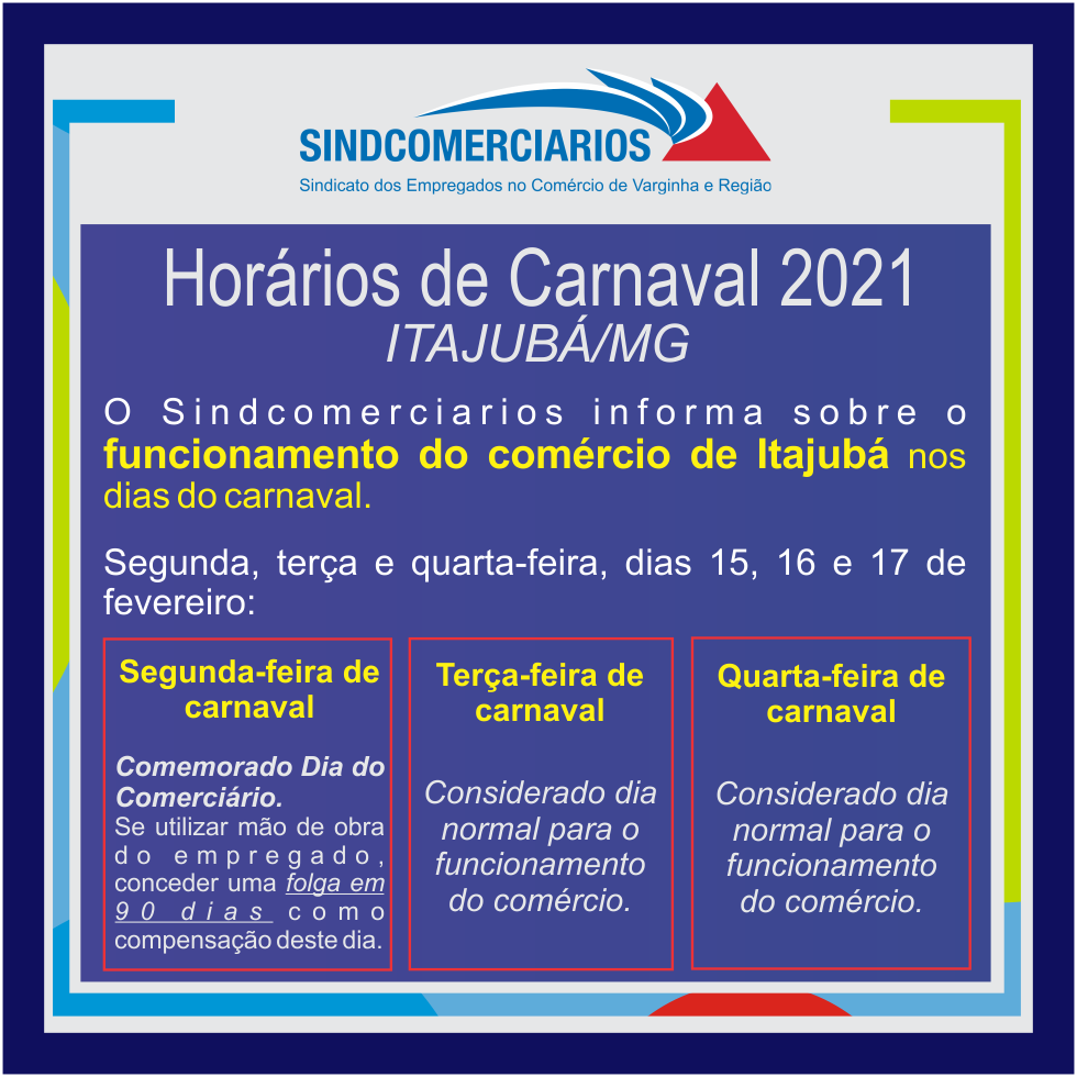 Itajubá – Funcionamento do Comércio no Carnaval 2021
