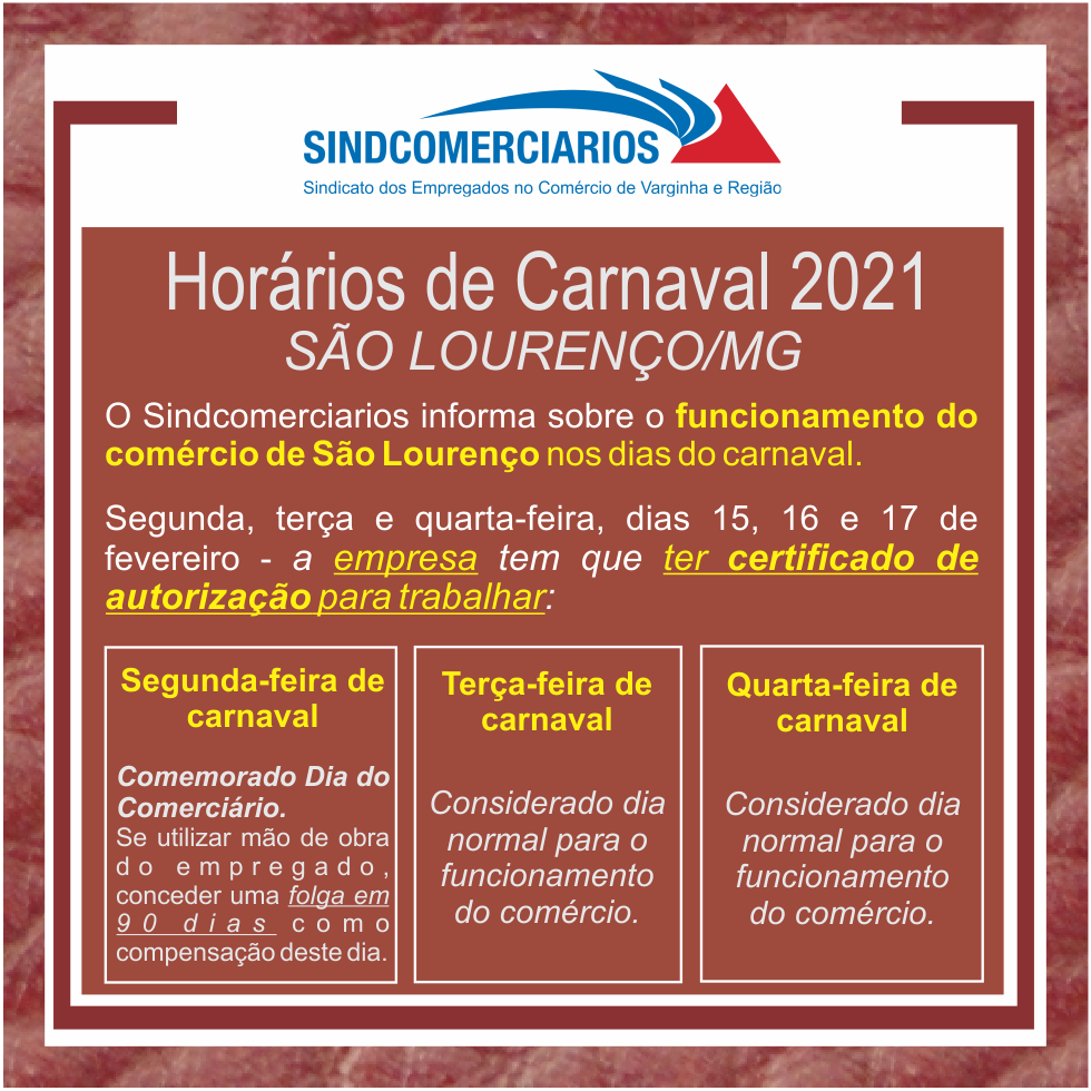São Lourenço – Funcionamento do Comércio no Carnaval 2021
