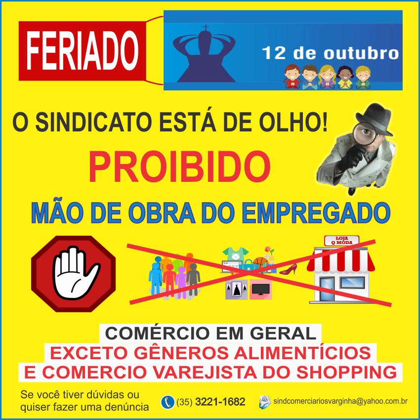 Feriado de 12 Outubro – Comércio Geral não poderá utilizar mão de obra do comerciário