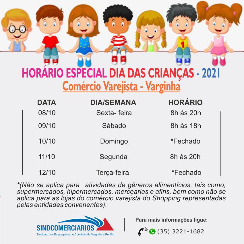 Horário Especial Facultativo – Dia das Crianças 2021